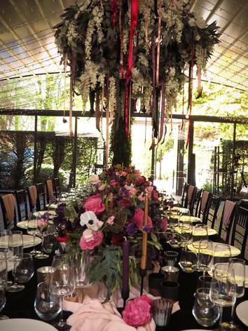 Chandelier hanging floral centrepiece 2021