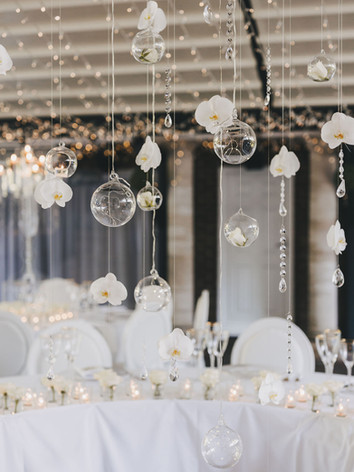 Hanging glass bauble wedding decoration