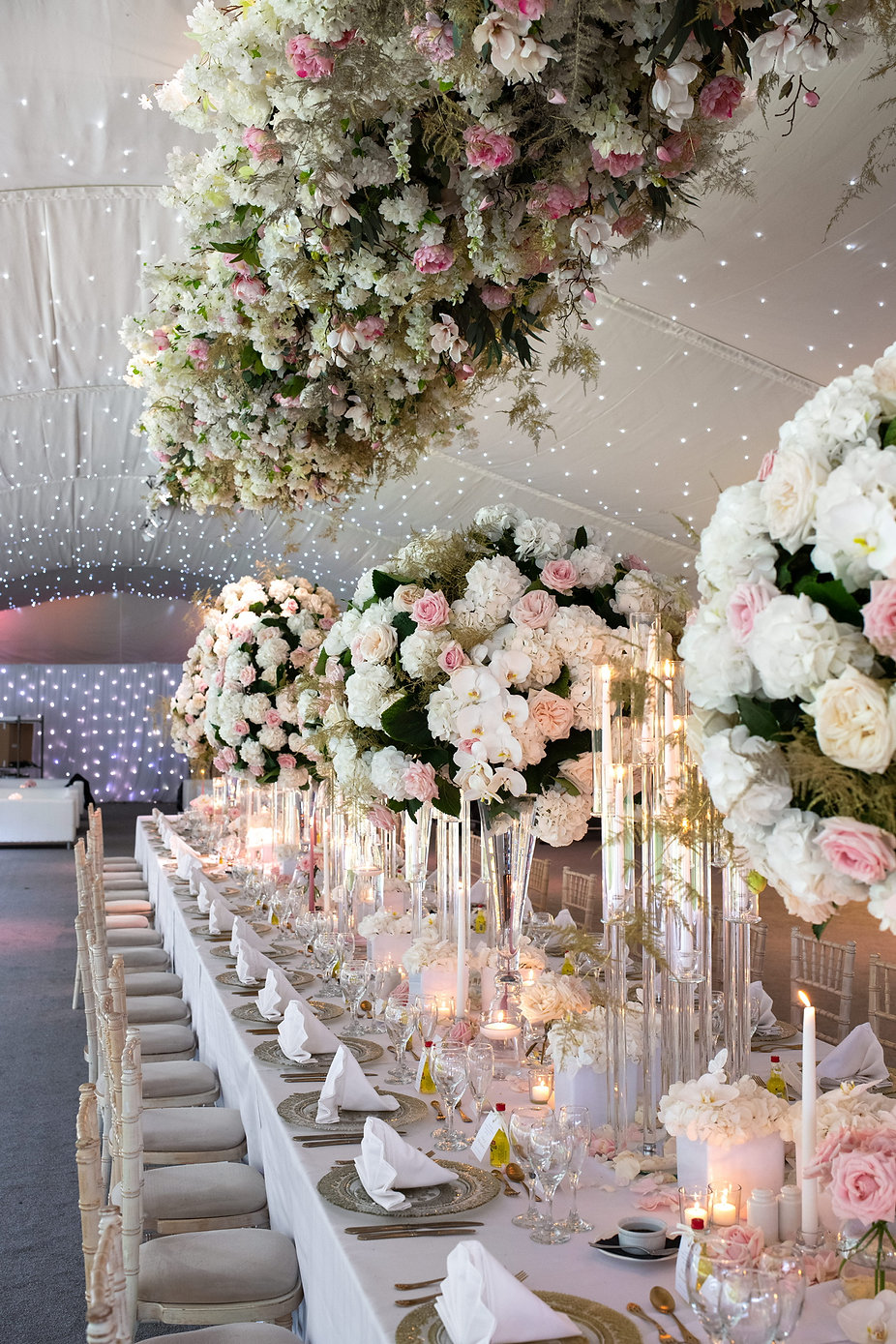 Pink and white hanging floral wedding design