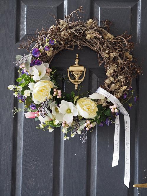 Spring Silk Flower Door Wreath