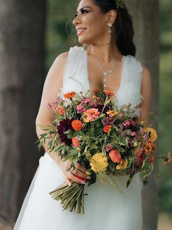 Mixed wild flower bridal bouquet