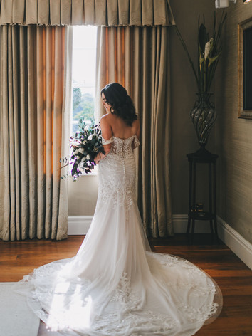 Preserved wedding Bouquet with stunning lace and cream wedding dress