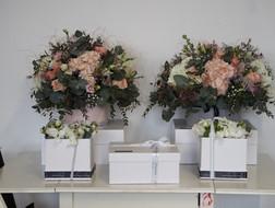 Hat Box flowers with present presentation box below