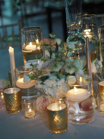 Stunning tea light wedding table centres