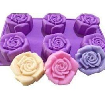 Darmika 6 Cavity, Rose Shape, Non Sticky Mould for soap, Chocolate etc 100g each