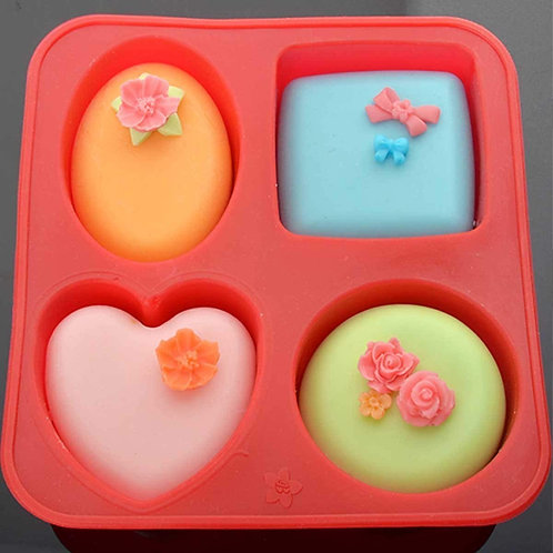 Darmika 4 Cavity Silicon Soap Cake Making Mould | 4 Shapes 100g each