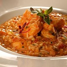 Risoto de frutos do mar (camarão, lula, polvo e mexilhões)