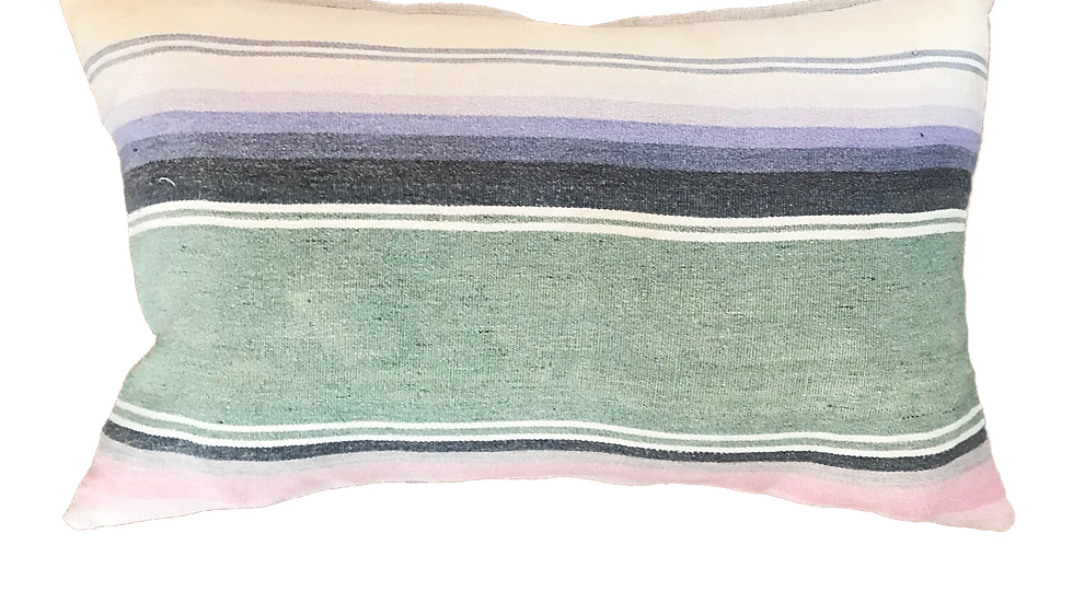 "Pastel Striped Mexican Style Blanket Pillow Cover 13"" x 21"""