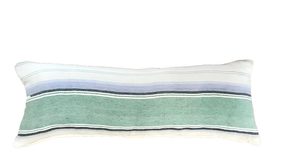 "Pastel Striped Mexican Style Blanket Lumbar Pillow Cover 13"" x 35"""