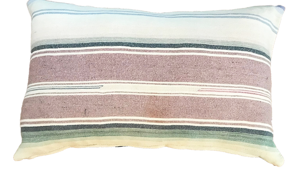 """Pastel Striped Mexican Style Blanket Pillow Cover 13"""" x 21"""""""