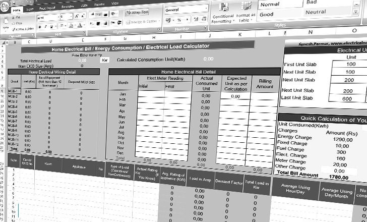 Calculate Home Electrical Load and Electrical Bill