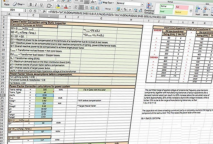 Power factor correction calculations for power system – MS Excel Spreadsheet