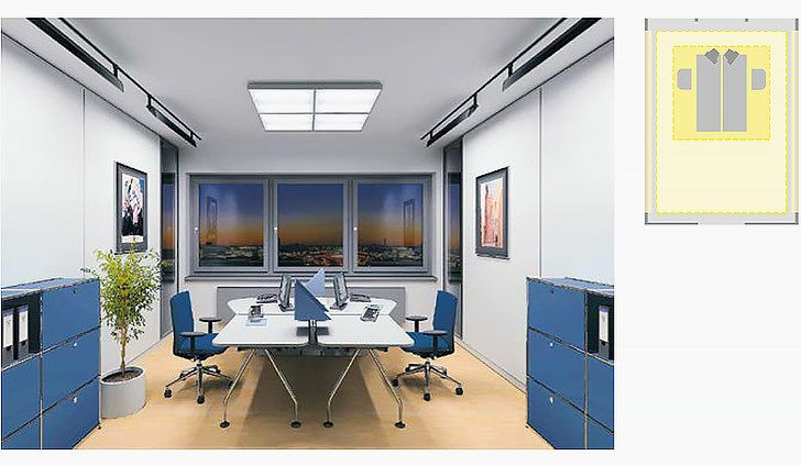 Lighting focussed onto individual visual task areas provides for varied light design in the room. By illuminating walls, for instance, rooms can be designed to be much more open and attractive; dynamic lighting situations can enhance their visual quality.
