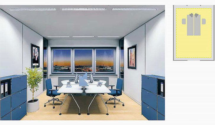 Room related lighting concepts take neither individual task areas nor different visual tasks into account. They are based on the most demanding task performed in the room. The position of the workstation is not defined, the entire room disposes of a uniform lighting quality