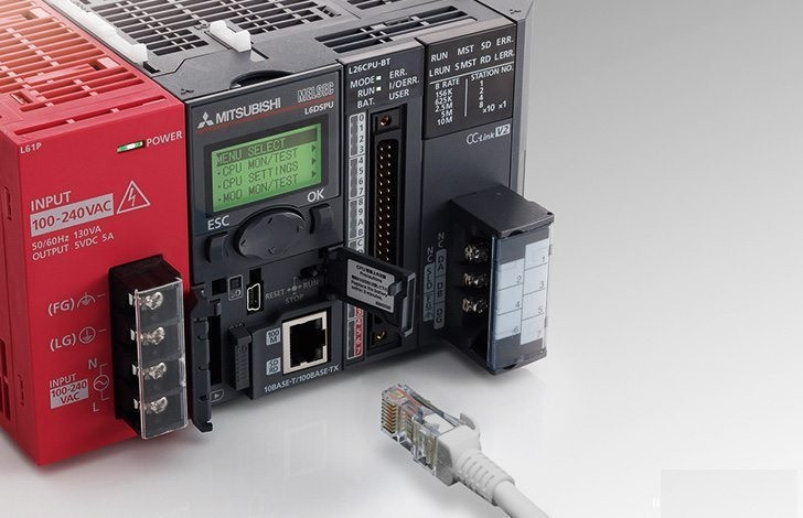 Learn PLC programming (relay sequences control) (on photo: Mitsubishi Electric MEAU-L Series PLC)