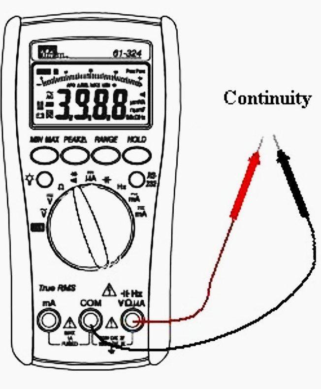 Continuity measurement with digital multimeter.