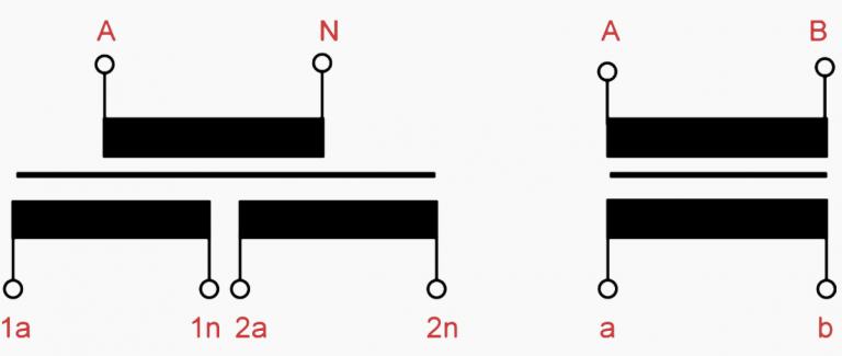 Figure 1 – Representation of a single-pole (on the left) voltage transformer with two secondary cores and a double-pole (on the right) with one secondary core