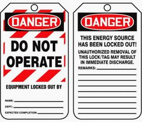 Danger! Do not operate safety tag