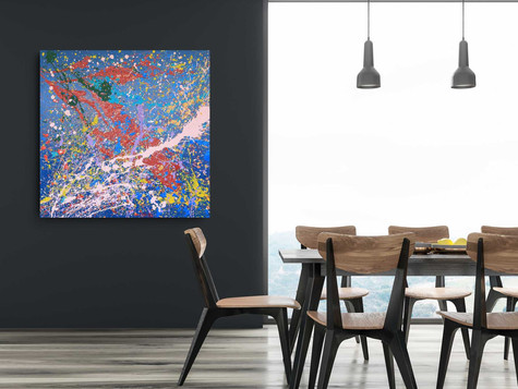 Stormy Blue Sea 2020 Acrylic and industrial paint on canvas 120/120 cm