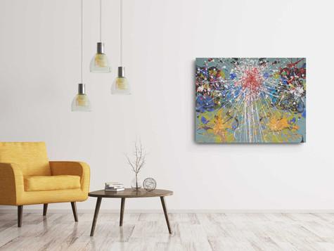 Three corona suns 2020, Industrial paint & Acrylic on high quality green canvas, 90/73 cm