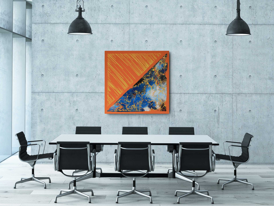 """Orange Day Blue Night"" 2020 Industrial paint and lime on high quality orange canvas 101/99 cm"