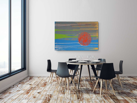 """""""Orange Sun"""" 2020 Industrial paint and lime on canvas 80/120 cm"""