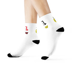 YELLOW GLOBE UNISEX SOCKS (WHITE)