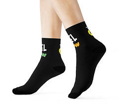 YELLOW GLOBE UNISEX SOCKS (BLACK)