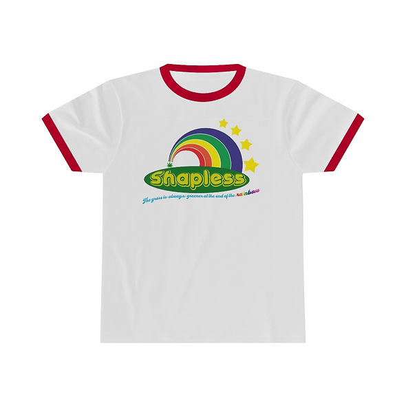 SHAPLESS RINGER TEE WITH GRAPHIC (WHITE)