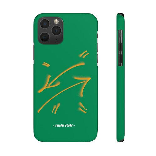 YELLOW GLOBE CROSS ARROW PHONE CASE (GREEN)