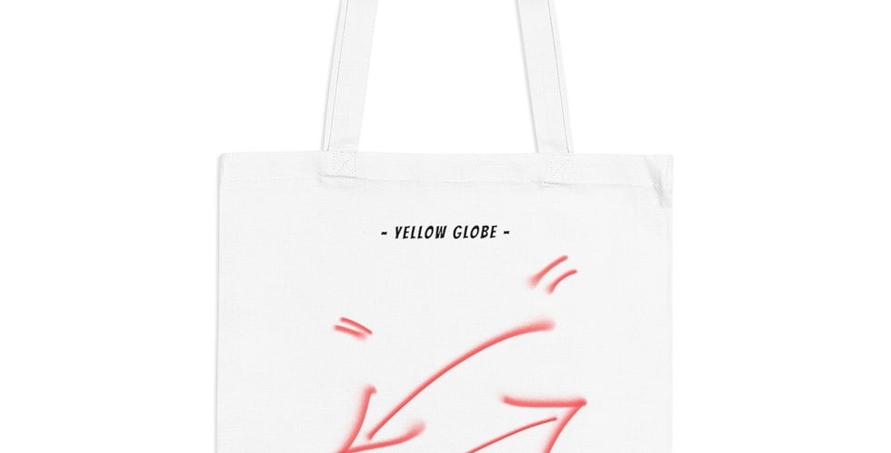 YELLOW GLOBE TOTE BAG (WHITE)