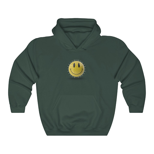 YELLOW GLOBE SMILEY HOODIE (FOREST GREEN)