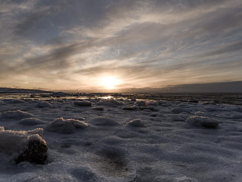 Eis auf dem Watt auf Pellworm