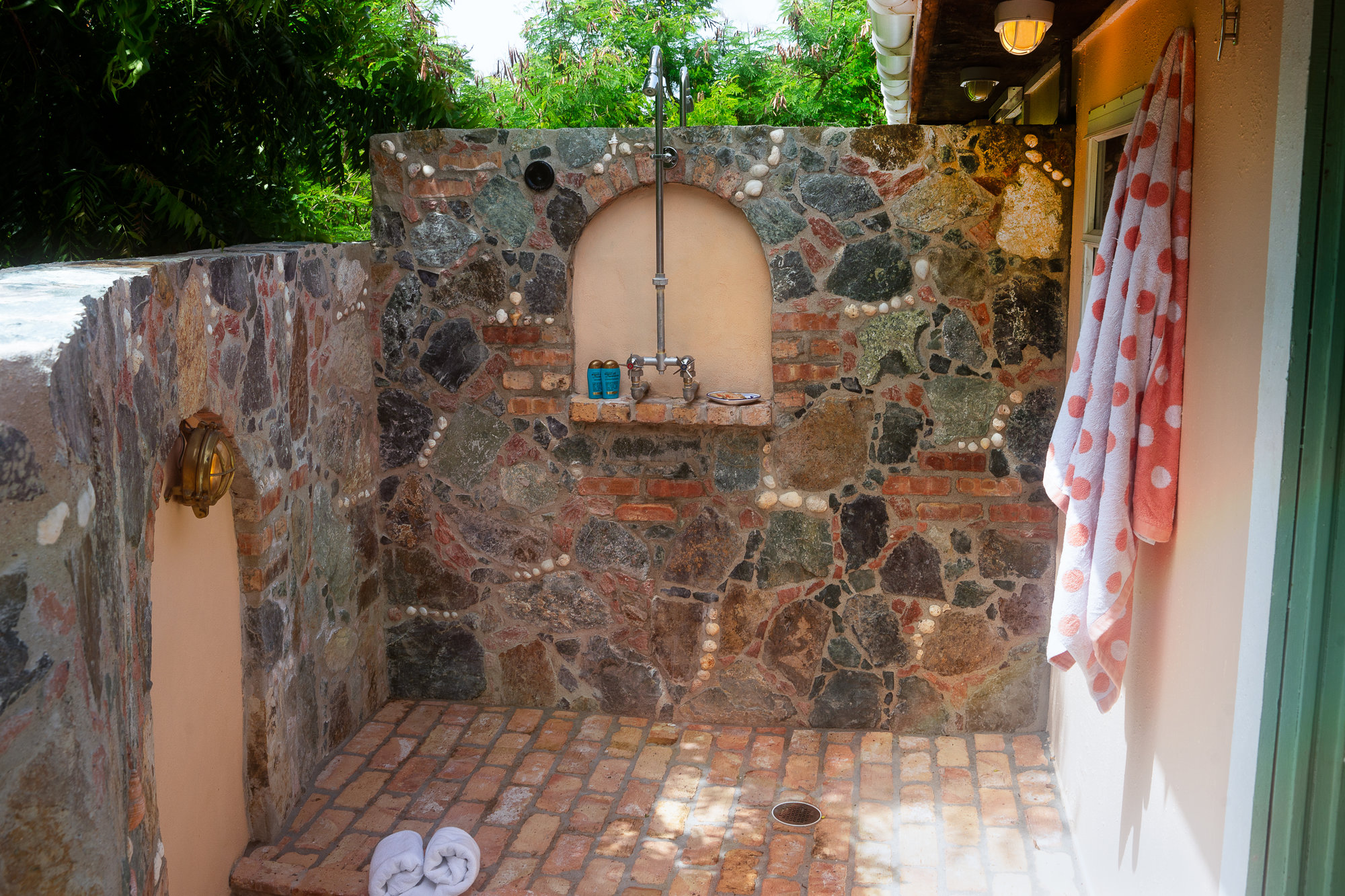 outdoor shower in guest house