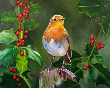 UK Robin with Holly, oil on panel