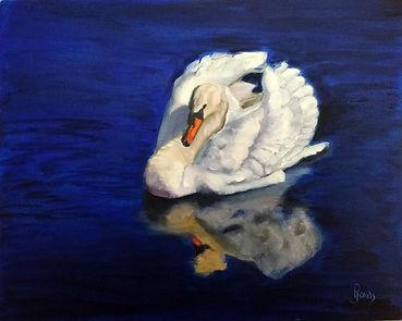 "The Swan, oil on panel, 8"" x 10"""