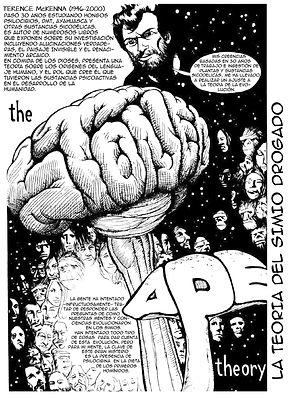 The stoned ape theory es una teoria sobre la influencia de hongos cylocibes en el desarrollo neurologico de los primeros hominidos, fue propuesta por Terence McKenna, este fanzine es dibujado por Jim Rugg en el 2004