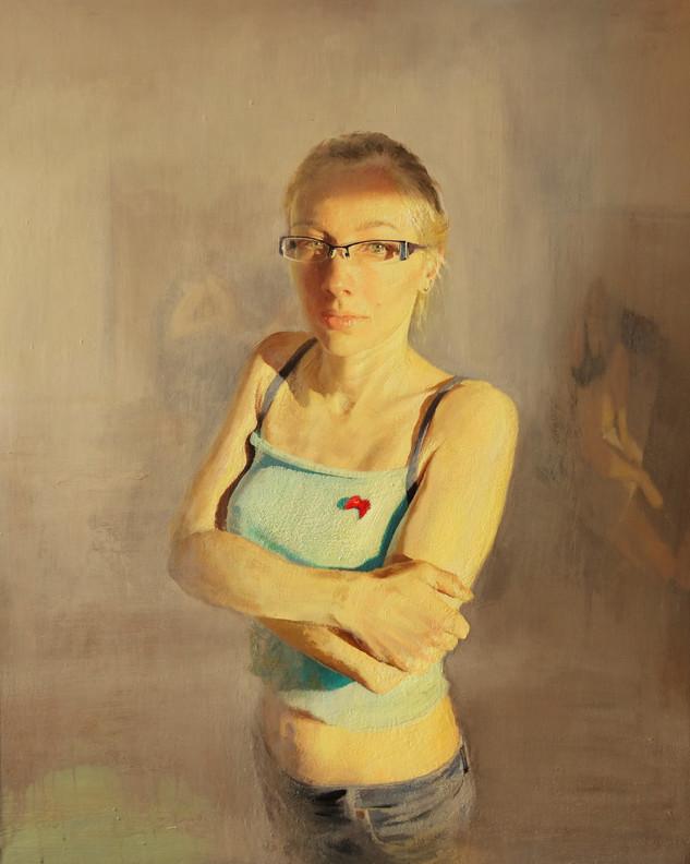 Lucía con lazo rojo, acrílico sobre lienzo,100 x 81 cm