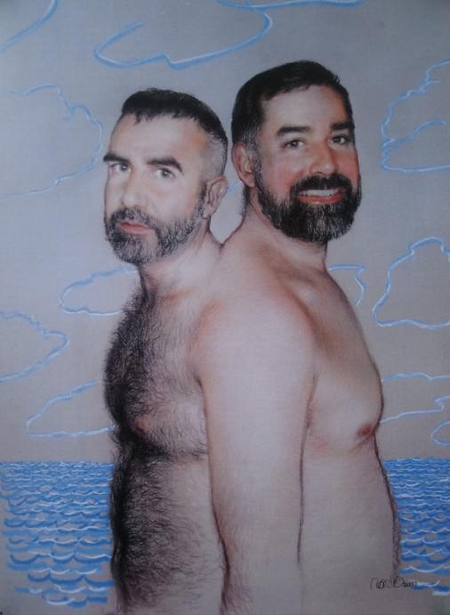 José y Juli, 2013, pencil and pastel on Canson paper, 100 x 70cm,