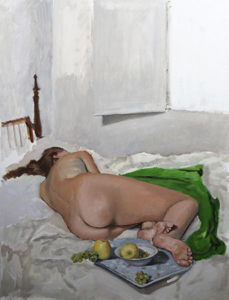 Desnudo con frutas, 2015, oil on wood, 101 x 78 cm