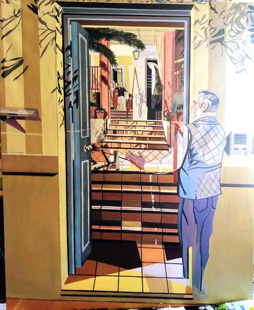 La despedida, 2019, óleo sobre lienzo, 195 x 165 cm
