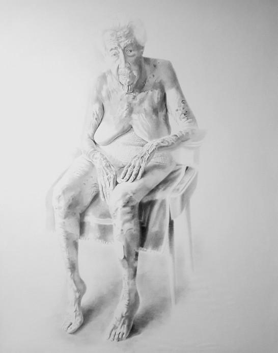 Mi abuela, 2018, graphite on paper, 190 x 220 cm