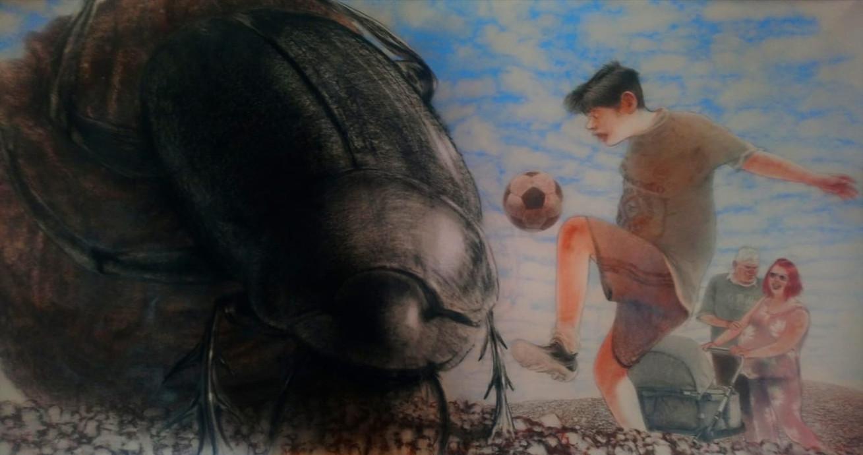 Escarabajo pelotero, 2018, lápiz y pastel sobre papel Canson, 107 x 204 cm