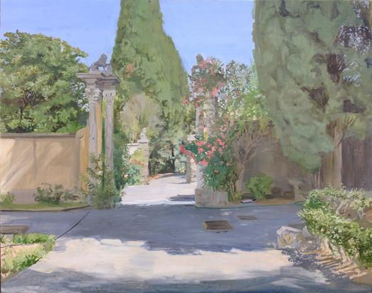 Ignacio Escobar, La puerta de los leones en la Villa Falconieri, óleo sobre lienzo