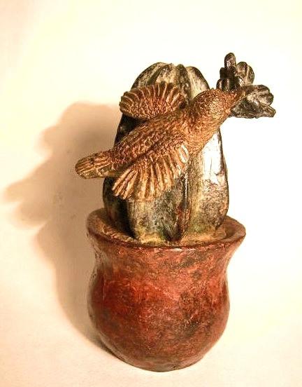 Cactus con colibrí, bronce, 17 X 11 X 11 cm