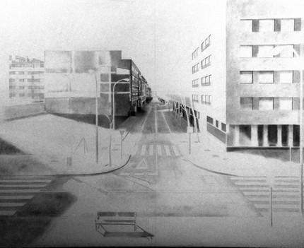 Pedro Quesada, Calle Bolivar, 2019, grafito sobre papel encolado a tabla, 160 x 120 cm