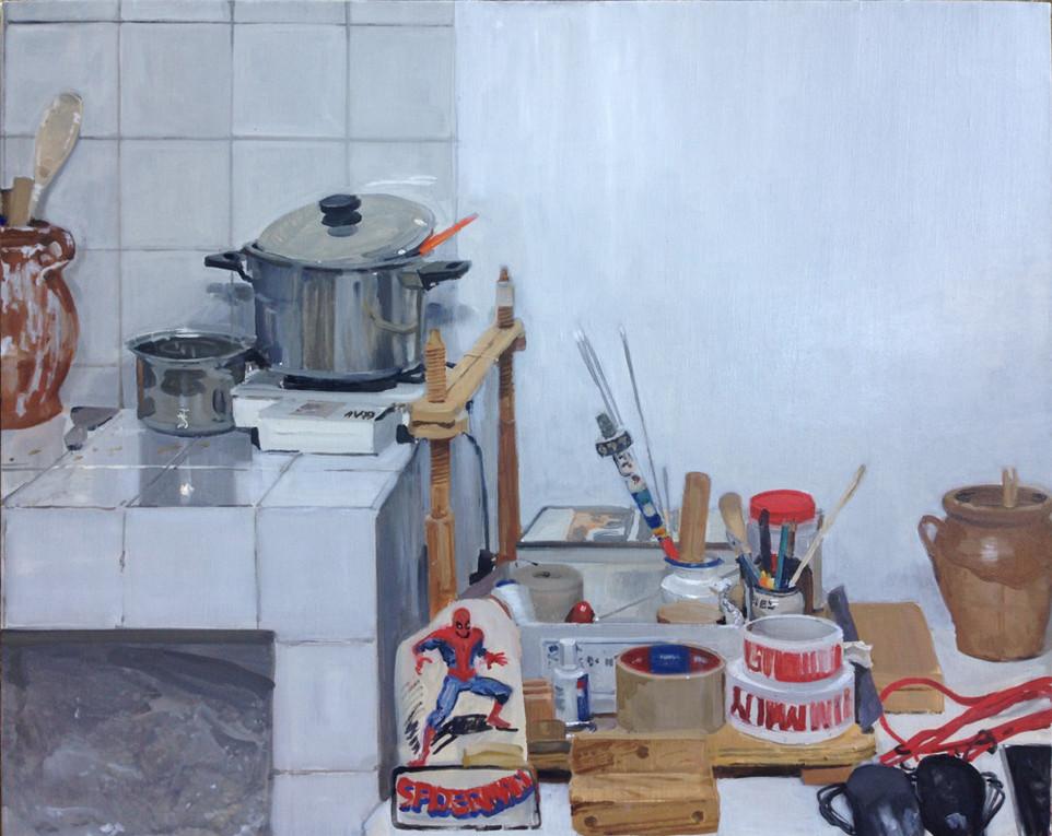 Rincón del estudio, 2018, óleo sobre lienzo, 65 x 81 cm