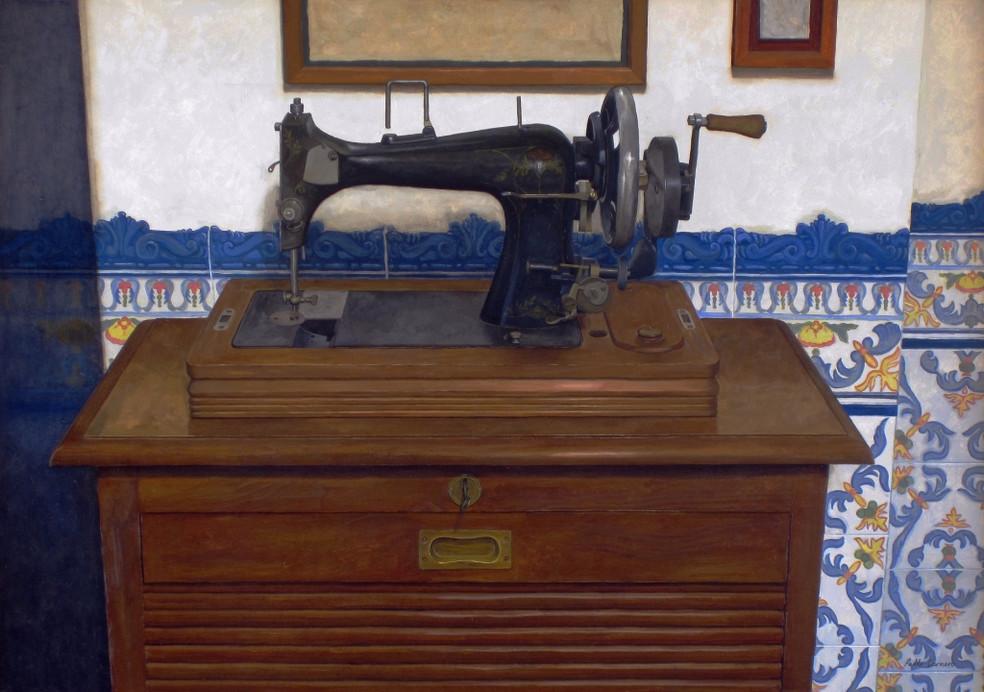 La máquina de coser, oil on canvas on wood, 60 x 85 cm