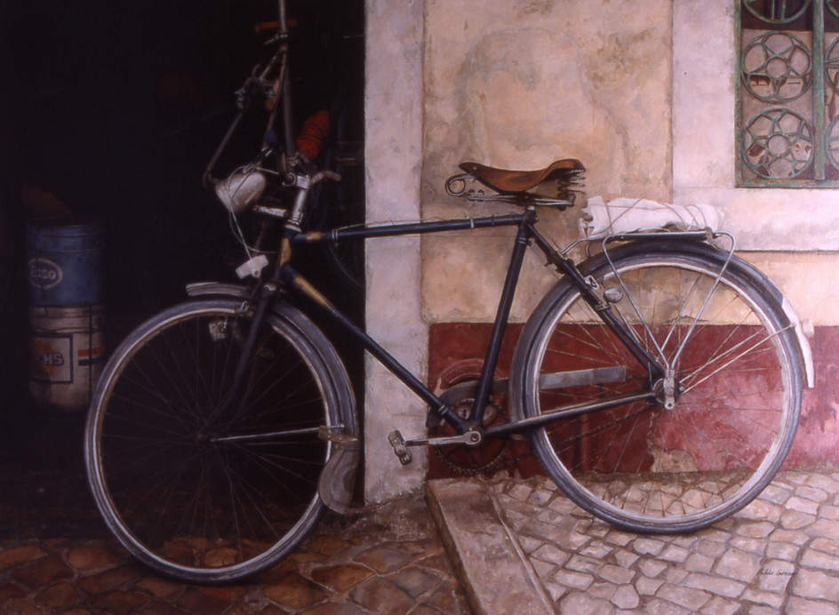 La bicicleta, oil on canvas on wood, 105 x 143 cm
