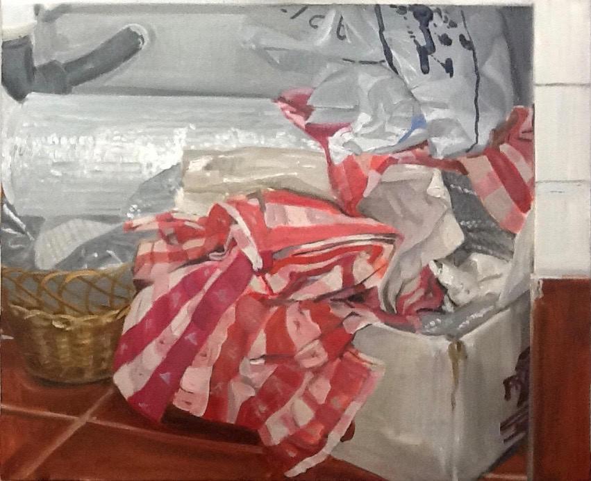 Trapos y plásticos en el estudio, 2014, óleo sobre lienzo, 50 x 61 cm